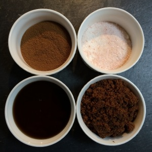 Coffee, Curing Salts, Muscavado Sugar and Maple Syrup