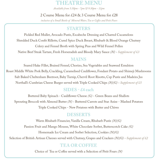 The Northall Theatre Menu